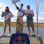 The King of Stoke 2019 Wakeskate 1st place Jacques Labuschagne, 2nd place Kyle Holtzhauzen, 3rd place Daniel Steyn